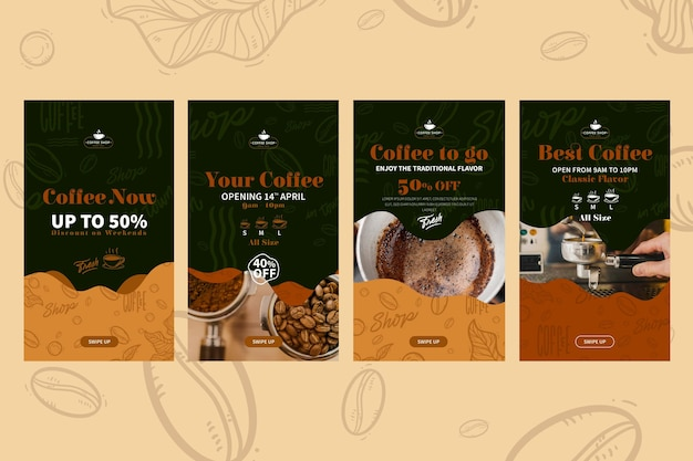 Coffeeshop instagram geschichten Kostenlosen Vektoren