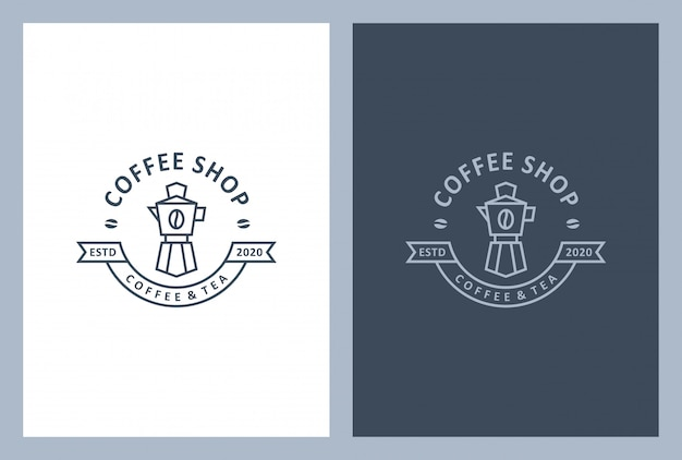 Coffeeshop-logo-design im vintage-stil Premium Vektoren