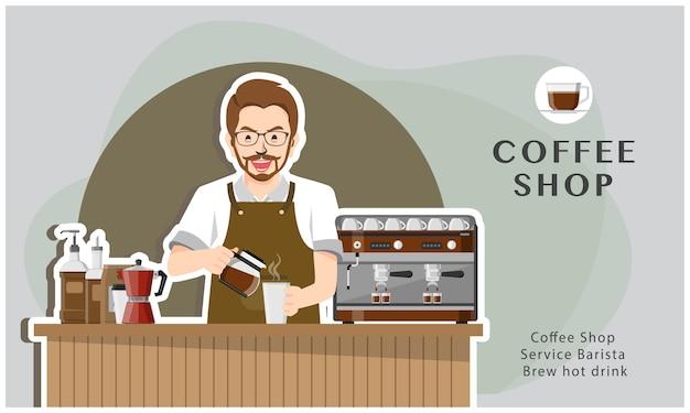 Coffeeshop-service barista brauen heißes getränk illustrationsdesign Premium Vektoren