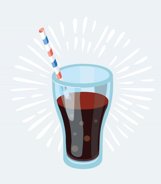 Cola-glas mit eiswürfeln auf blauer fotorealistischer illustration Premium Vektoren