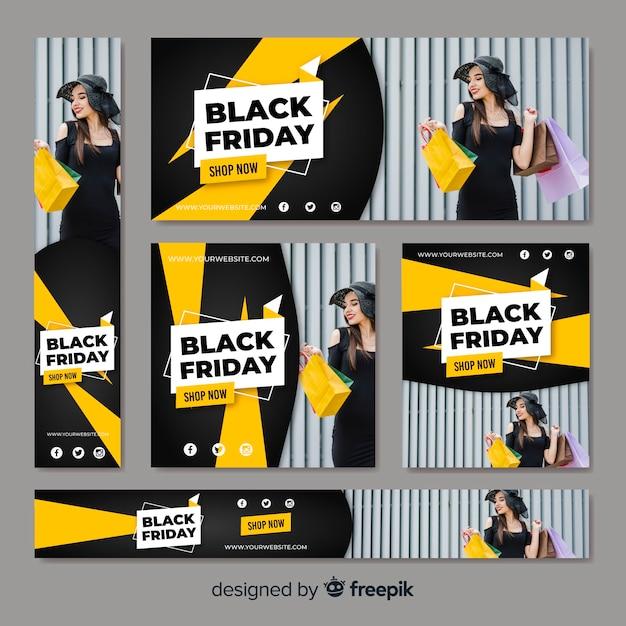 Colección de banners web de rebajas de schwarzen freitag mit mujer comprando Kostenlosen Vektoren