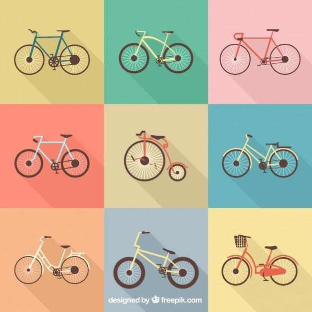 Colection von retro-bikes Kostenlosen Vektoren