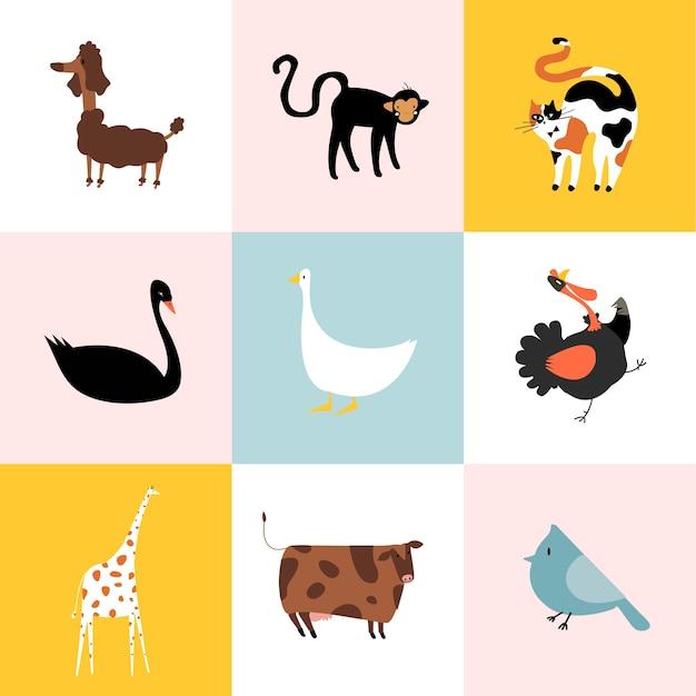 Collage von verschiedenen arten von tieren Kostenlosen Vektoren