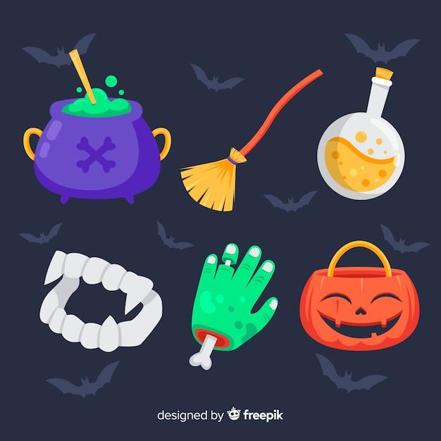 Collage von verschiedenen halloween-elementen mit schlägerhintergrund Kostenlosen Vektoren