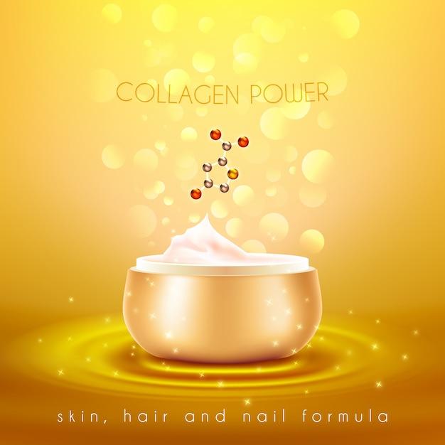 Collagen-hautcreme-goldenes hintergrund-plakat Kostenlosen Vektoren