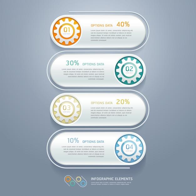 Color gears infografiken anzahl optionen workflow-layout, diagramm, schrittoptionen, webdesign, infografiken. Premium Vektoren