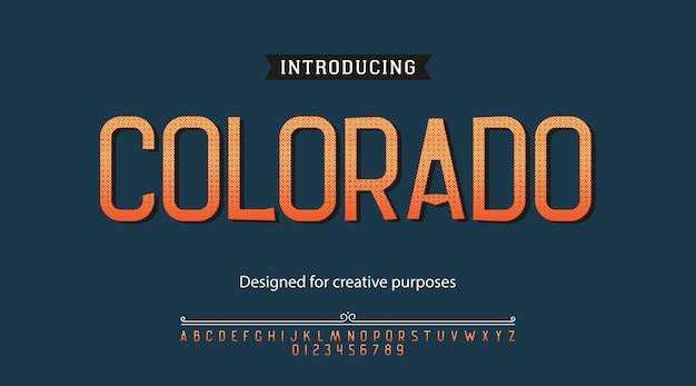 Colorado-schrift. schriftart mit alphabet und zahlen Premium Vektoren