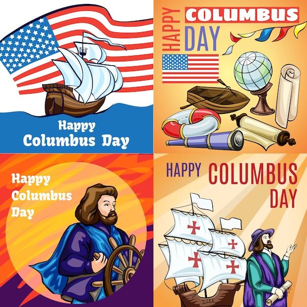 Columbus day banner gesetzt. karikaturillustration des columbus-tages Premium Vektoren