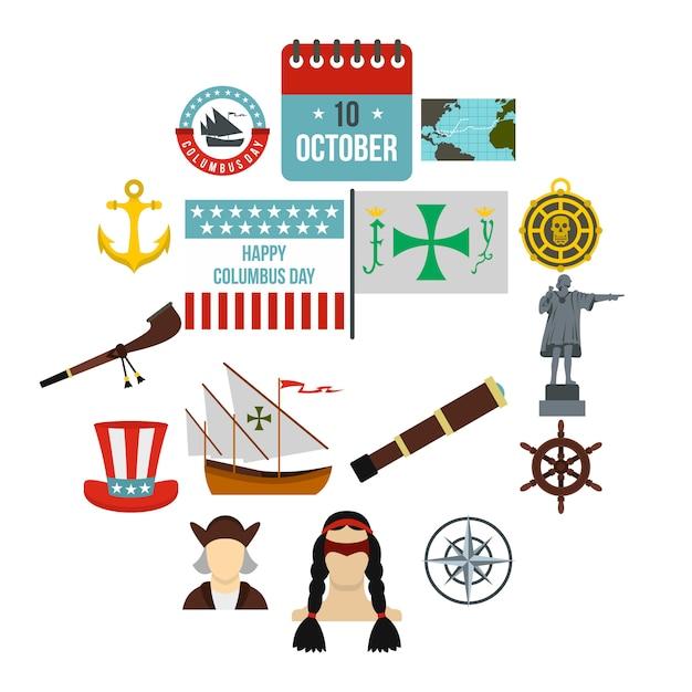 Columbus day icons set, flachen stil Premium Vektoren