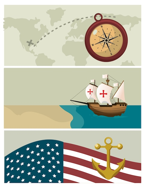 Columbus tag cartoons Premium Vektoren