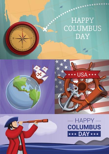 Columbus-tagesillustrationssatz, karikaturart Premium Vektoren