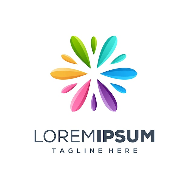 Colurful logodesign-vektorillustration der erstklassigen malerei Premium Vektoren