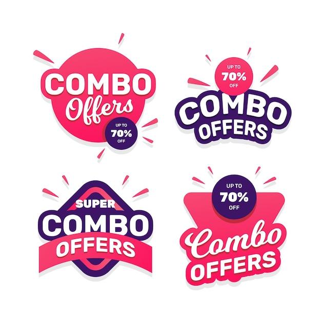Combo bietet etikettenpaket an Kostenlosen Vektoren