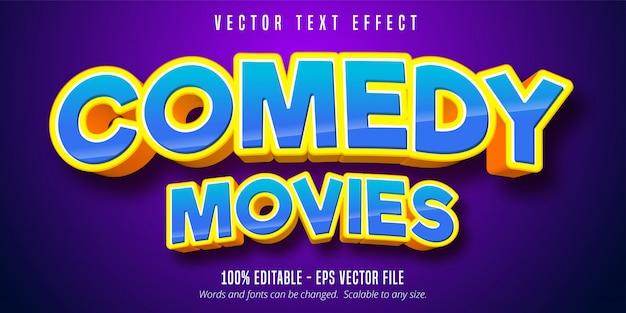 Comedy-filmtext, bearbeitbarer texteffekt im cartoon-stil Premium Vektoren