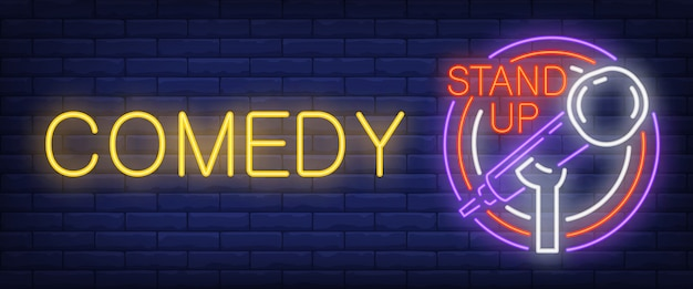 Comedy leuchtreklame. glühendes balkenmikrofon im kreisrahmen Kostenlosen Vektoren