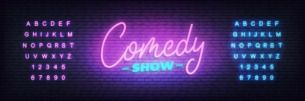 Comedy show neon. schriftzug leuchtreklame Premium Vektoren
