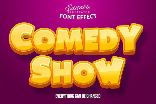 Comedy-showtext, 3d bearbeitbarer schrifteffekt Premium Vektoren