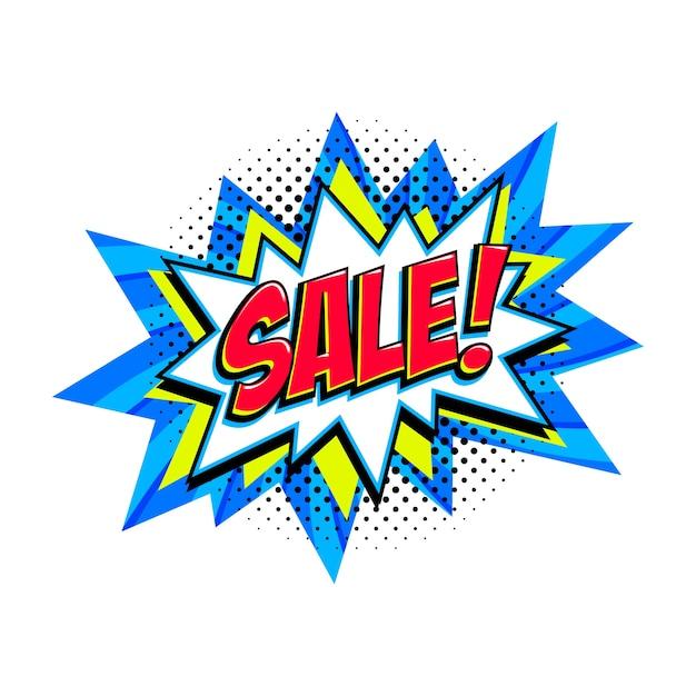 Comic blue sale bang ballon - pop-art-stil rabatt promotion banner. Premium Vektoren