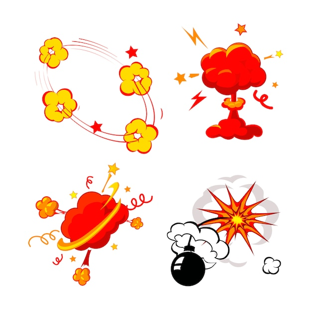 Comic book explosion, bomben und explosion set, cartoon feuerbombe, knall und explosion Premium Vektoren