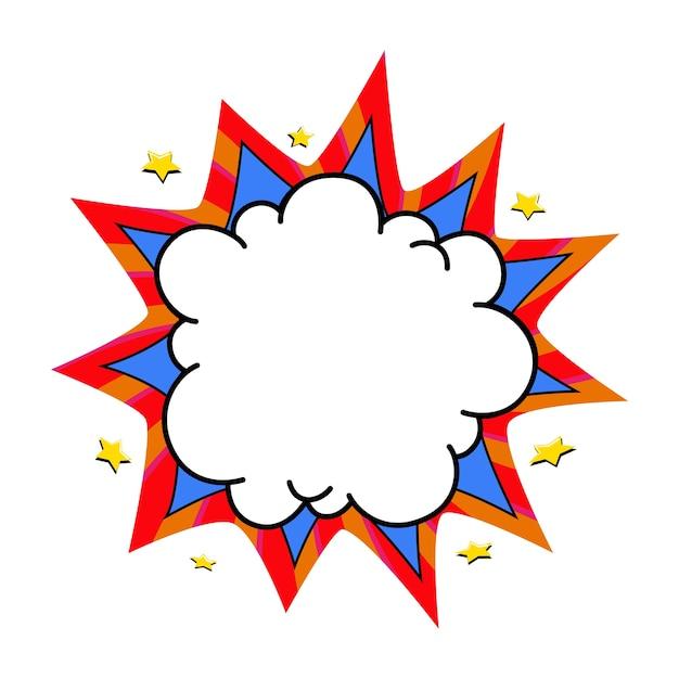 Comic boom ballon. leere blaue und rote knall-sprechblase im pop-art-stil. Premium Vektoren