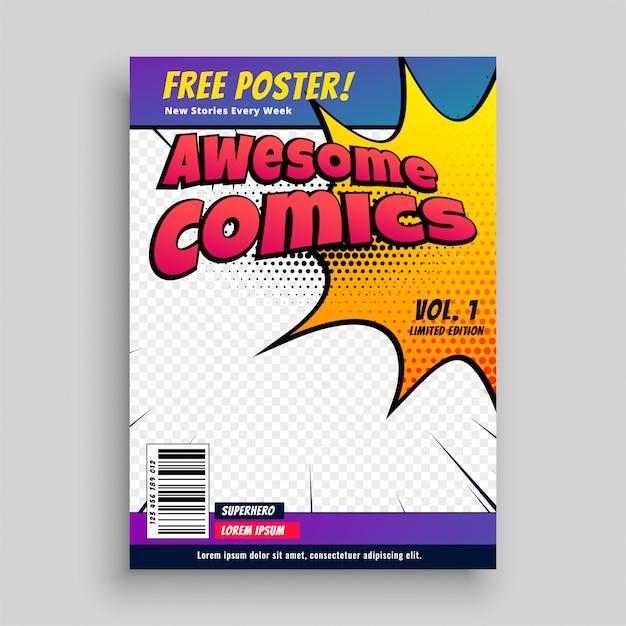 Comic-buch-cover-magazin-design-vorlage Kostenlosen Vektoren