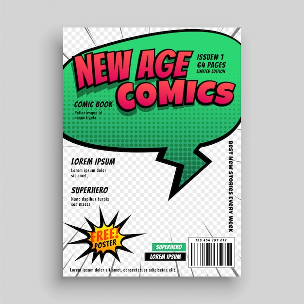 Comic-buch-seitenabdeckung schablonendesign Kostenlosen Vektoren