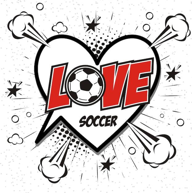 Comic Buch Sprechblase Cartoon Wort Liebe Fussball Premium
