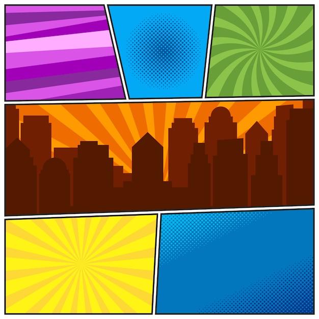 Comic-buchseitenschablone mit verschiedenen radialhintergründen und stadtschattenbild Premium Vektoren