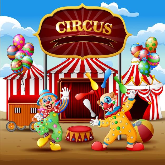 Comic-clownshow und akrobat-auftritt in der arena Premium Vektoren