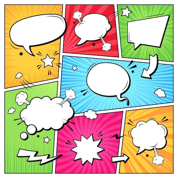 Comic-dialogblasen. cartoon-buch-superhelden-sammelalbum-seitenvorlage, leere komische sprachwolken, grafik-rahmenrahmen-layoutvorlageillustration. pop-art-hintergrund mit leeren luftballons Premium Vektoren