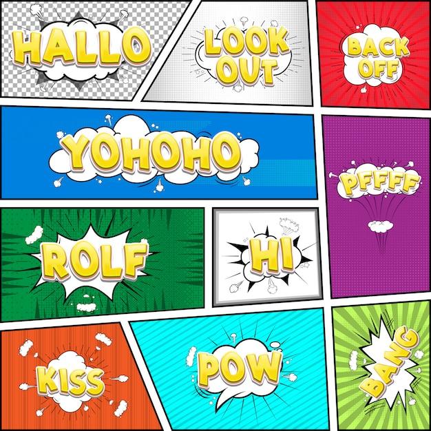 Comic-dialogwolke, pop-art-textsammlung Premium Vektoren