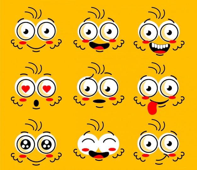 Comic doodle lächeln gesicht, wütend, traurig, geschnitten Premium Vektoren