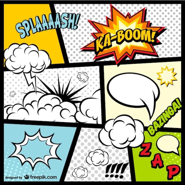 Comic-elemente einer seite kostenlos herunterladen Premium Vektoren