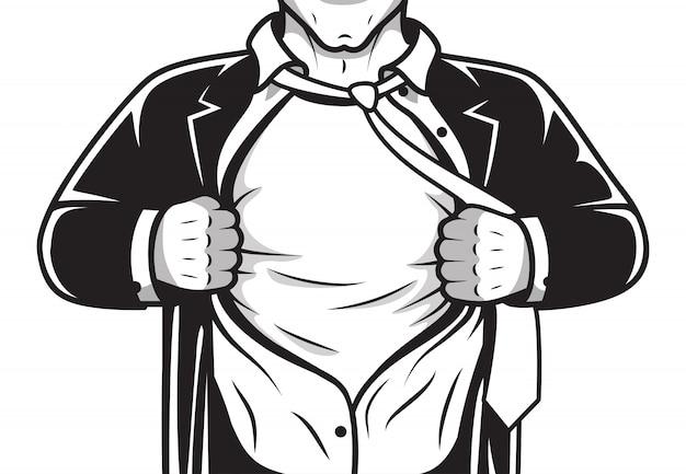 Comic held eröffnung shirt Premium Vektoren