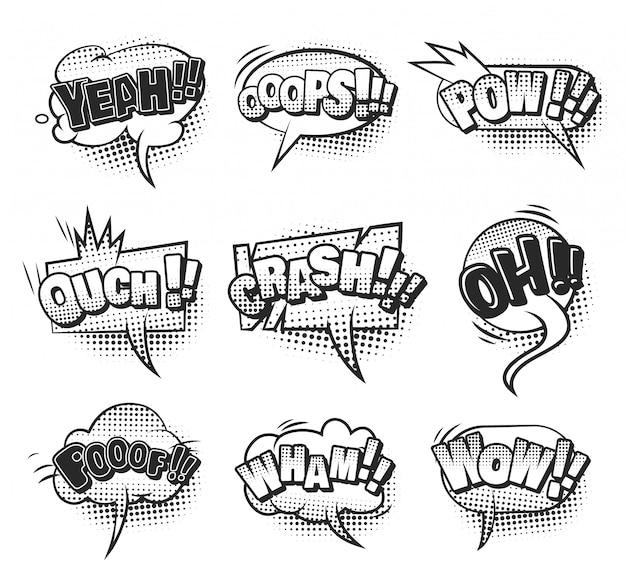 Comic helle sprechblasen mit bunten wortlautwolken und halbton-humor-effekten Kostenlosen Vektoren