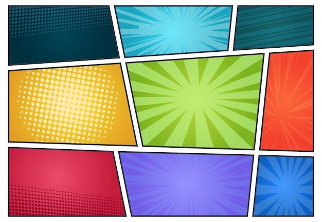 Comic-hintergrund. pop-art-retro-seitenstil, halbton-cartoon-effekt, comic-rahmen-cover. Premium Vektoren