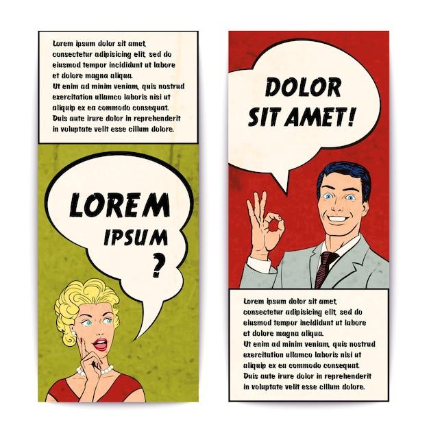 Comic-menschliche banner-set Kostenlosen Vektoren