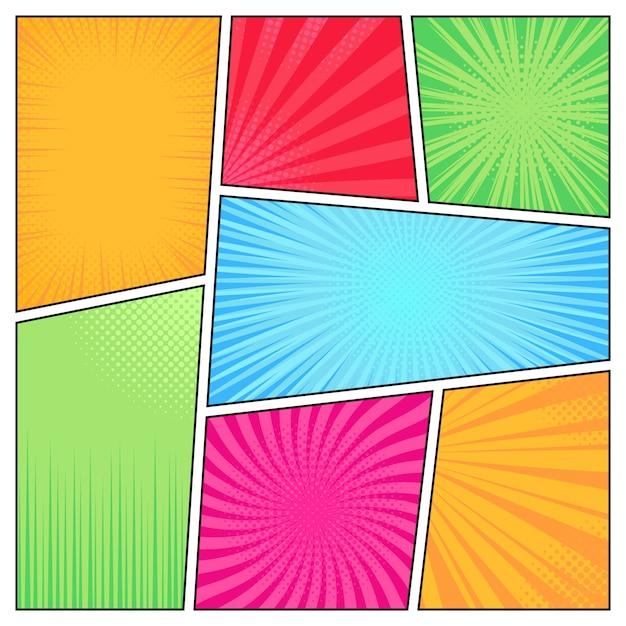 Comic-rahmen. cartoon spaß hellen superhelden comics stil rahmen, bücher cover, streifen textur elemente illustration set. popart-seite mit leerem raum und radialem halbtoneffekt Premium Vektoren