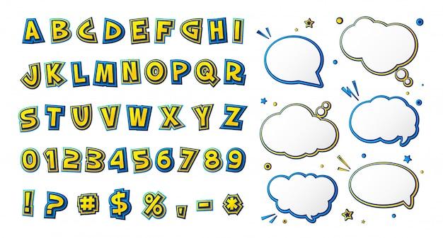 Comic-schrift, gelb-blaues cartoon-alphabet und sprechblasen Premium Vektoren