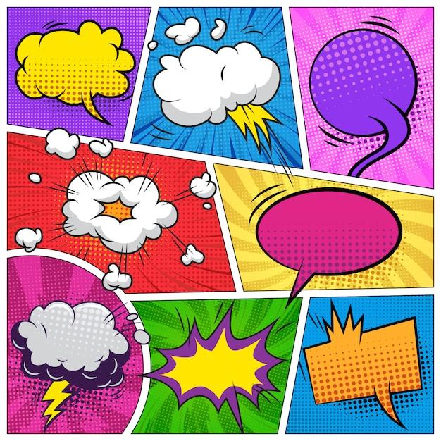 Comic-seite hintergrund mit sprechblasen formulierungen wolken explosive halbton radialstrahlen humor effekte Kostenlosen Vektoren
