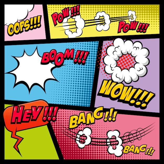 Comic-seitenmodell mit farbigem hintergrund. bombe, dynamit, explosionen. element für plakat, karte, druck, banner, flyer. bild Premium Vektoren