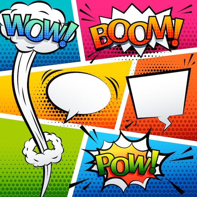 Comic-sound-effekt sprechblase pop-art cartoon-stil Kostenlosen Vektoren