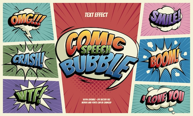 Comic speech bubble text efect Premium Vektoren
