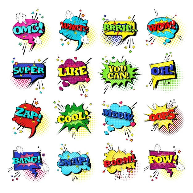 Comic speech chat bubble set pop art stil sound ausdruck text icons sammlung Premium Vektoren