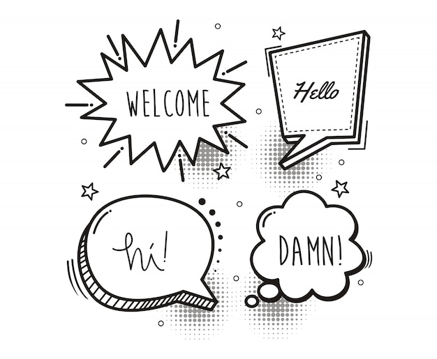 Comic-sprechblasen-cartoon-wort willkommen, hallo, hallo, verdammt Premium Vektoren