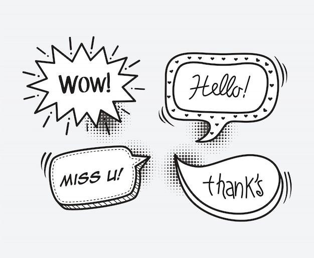 Comic-sprechblasen-cartoon-wort wow, hallo, vermisse dich, danke Premium Vektoren
