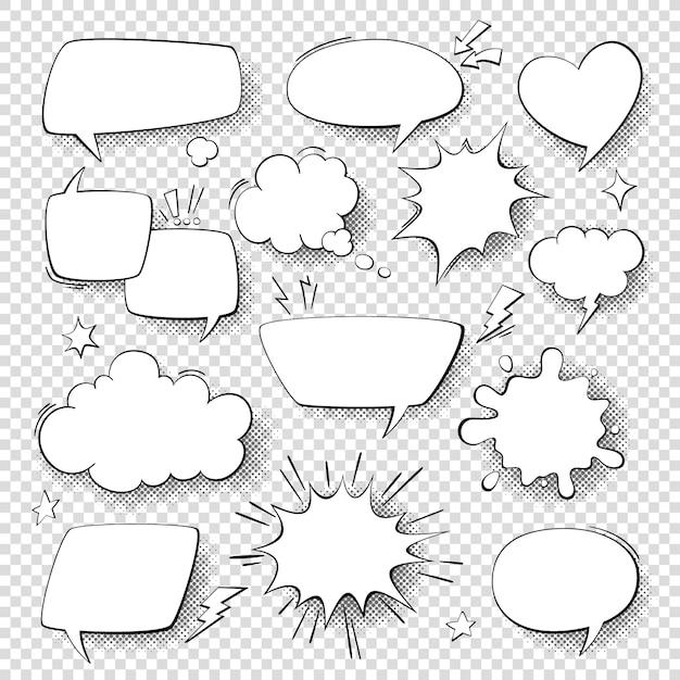 Comic-sprechblasen. comic-comics sprechen und gedankenblasen. retro sprachformen eingestellt Premium Vektoren