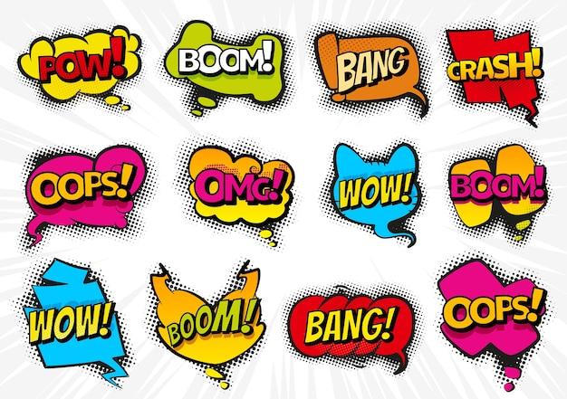 Comic-sprechblasen mit text eingestellt wow, omg, boom, bang. karikaturillustrationen lokalisiert auf weißem hintergrund. farbige chat-texteffekte der comic-sammlung im pop-art-stil. Premium Vektoren