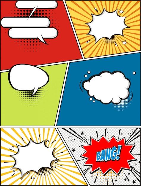Comic-sprechblasen. retro-design-elemente Premium Vektoren