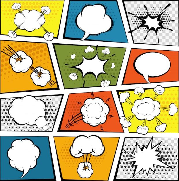 Comic-sprechblasen-set Kostenlosen Vektoren